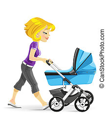 Mother walking with a blue stroller