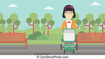 Mother walking with baby stroller.