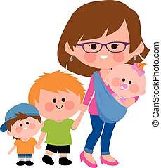Mother walking with her children and her baby in a sling. Vector illustration.