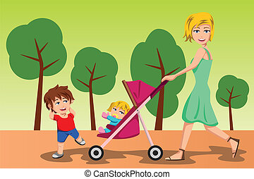 Mother walking with her kids