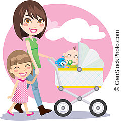 Mother Walking - Woman holding hands with little girl and...