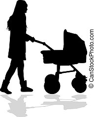 Mother walks with the child in the baby carriage.