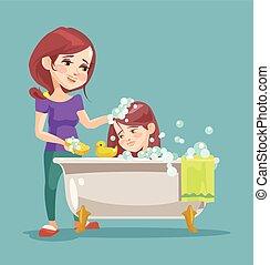 Mother wash her daughter. Vector flat cartoon illustration