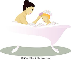 Mother washes with child isolated on white