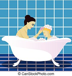 Mother washes with child