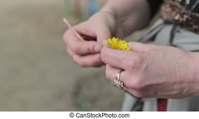 Mother weaves a wreath of dandelions for her daughter, hands...