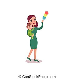 Mother wiping dust at home with baby in her arms, super mom concept vector Illustration