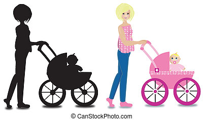 mother with a baby - a mother taking her baby for a walk