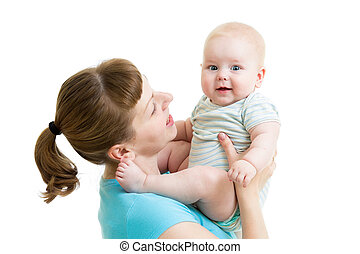 mother with baby boy isolated on white