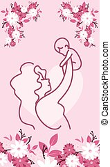 mother with baby, card of happy mother day