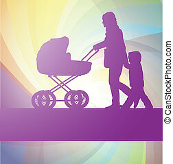 Mother with baby carriage and kid background - Mother with...