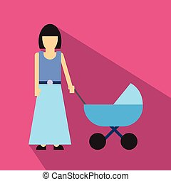 Mother with baby carriage flat icon