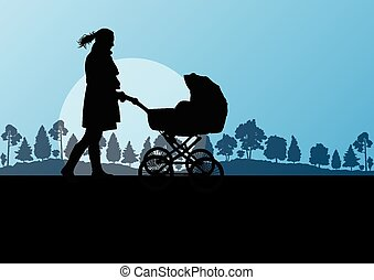 Mother with baby carriage vector