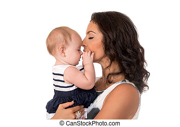 Mother with baby girl in profile isolated