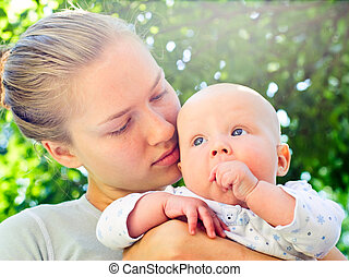 Mother with baby girl