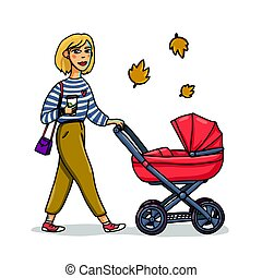 Mother with baby in stroller. Young stylish woman walking with baby carriage. Cartoon style girl walk with baby in autmn. Vector illustration