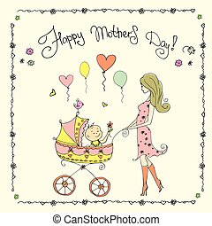 Mother with baby in stroller,Happy Mother's Day card