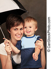 mother with baby in studio