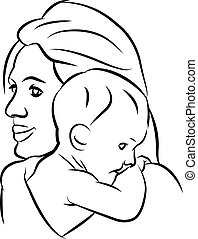 Mother with baby, linear silhouette illustrations