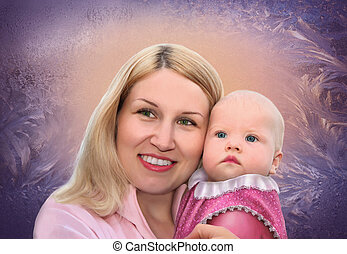 mother with baby on frozen window collage