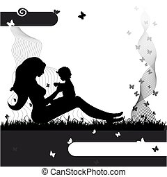 Mother with baby on the nature, black silhouette