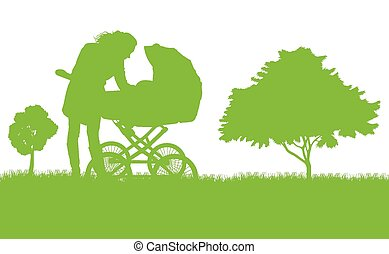 Mother with baby pram vector