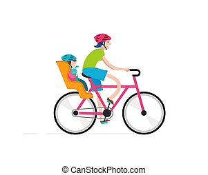 Mother with baby riding on bicycle, active family vacation