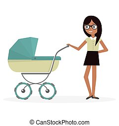 Mother with baby stroller. Cartoon illustration young woman and pram.