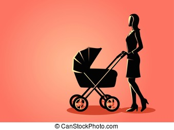 Mother with baby stroller - Graphic illustration of a mother...