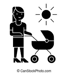mother with baby stroller  icon, vector illustration, sign on isolated background