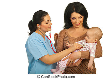 Mother with baby visit doctor