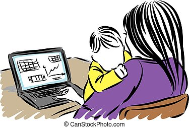 MOTHER WITH BABY WORKING FROM HOME VECTOR ILLUSTRATION