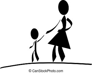 An illustrated mother with her child. All isolated on white background.