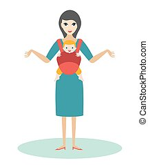 Mother with child born baby in a baby carrier, sling.