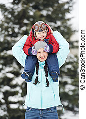 Mother with child boy son at winter - Portrait of happy ...