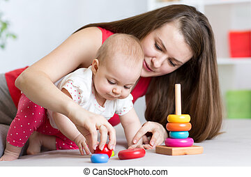 mother with child daughter play