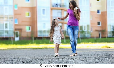 Mother with child walk