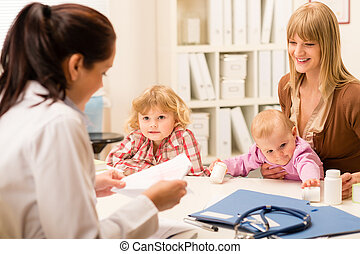 Mother with children at the pediatrician office