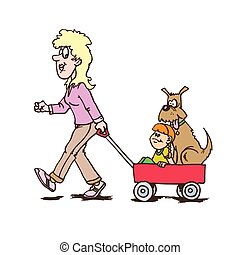 mother with children carriage walking with dog and child. Creative vector illustration.
