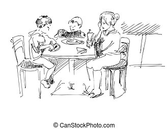 mother with children in a cafe at the table