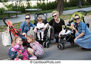 mother with children in the park