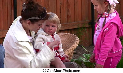 mother with children outdoor