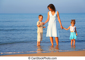 Mother with children standing in water at edge of the sea