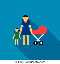 Mother with daughter and baby in red pram icon