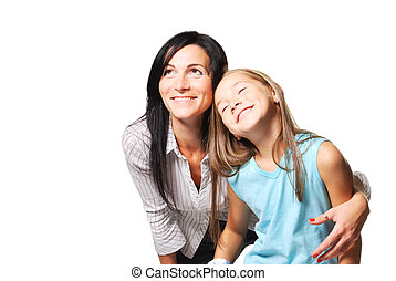 Mother with daughter dreaming. White background