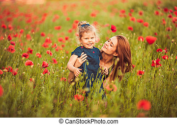 Mother with daughter outdoor