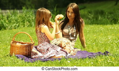 Mother with daughter relaxing