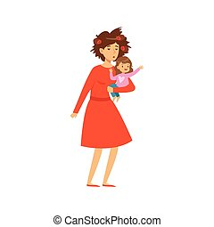 Mother with disheveled hair holding her little daughter