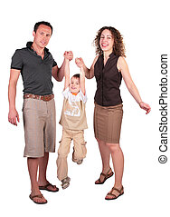 mother with father have lifted  son for hands