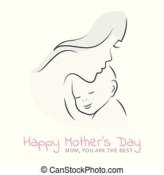 mother with her baby happy mothers day bright greeting card